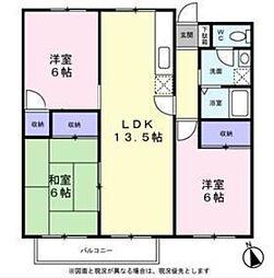 東京都日野市平山4丁目の賃貸アパートの間取り