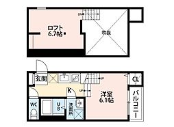 福岡県福岡市博多区那珂2丁目の賃貸アパートの間取り