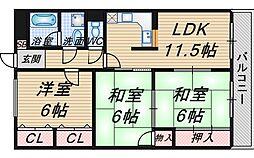 大阪府豊中市北条町3丁目の賃貸マンションの間取り
