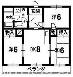 徳島県徳島市国府町日開の賃貸マンションの間取り