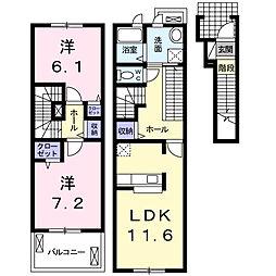 愛知県名古屋市名東区新宿1丁目の賃貸アパートの間取り