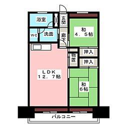 中駒九番団地7号棟[2階]の間取り