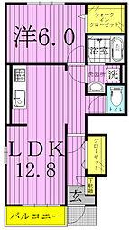 千葉県白井市西白井3丁目の賃貸アパートの間取り
