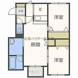 北海道札幌市北区屯田九条9丁目の賃貸アパートの間取り