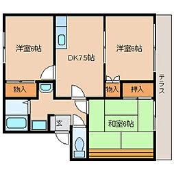 奈良県天理市兵庫町の賃貸アパートの間取り