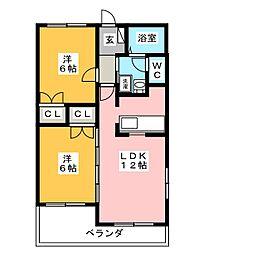 金子アベニュー 100棟[3階]の間取り