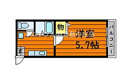 JR山陽本線 新倉敷駅 徒歩6分の賃貸アパート 2階1Kの間取り