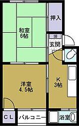 錦美マンション[2階]の間取り