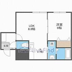 札幌市営東西線 菊水駅 徒歩9分の賃貸マンション 5階1LDKの間取り