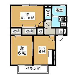 パディーコート B棟[1階]の間取り