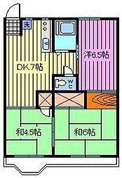 第2富田コーポ[202号室]の間取り
