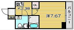 大阪府高槻市野見町の賃貸マンションの間取り