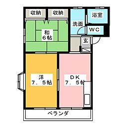 サンピュアハピネスA・B[1階]の間取り