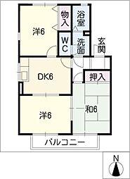 ガーデンムジューA棟[2階]の間取り