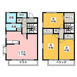 愛知県名古屋市千種区園山町2丁目の賃貸アパートの間取り