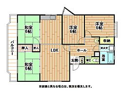 福岡県北九州市小倉北区霧ケ丘2丁目の賃貸マンションの間取り