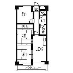 愛知県名古屋市天白区植田3丁目の賃貸マンションの間取り