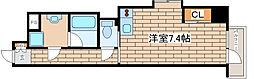 JR東海道・山陽本線 摩耶駅 徒歩8分の賃貸マンション 6階ワンルームの間取り
