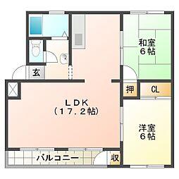 神陵台東住宅52号棟[4階]の間取り