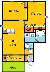 栃木県宇都宮市大和3丁目の賃貸アパートの間取り