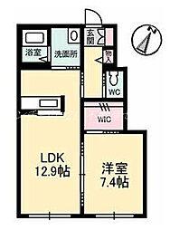 JR津山線 玉柏駅 徒歩16分の賃貸アパート 1階1LDKの間取り