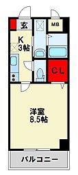 JR鹿児島本線 八幡駅 徒歩4分の賃貸マンション 1階1Kの間取り