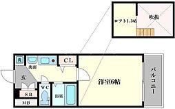 エステムコート難波WEST-SIDE大阪ドーム前[2階]の間取り