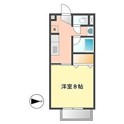 愛知県北名古屋市六ツ師町田の賃貸アパートの間取り