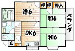 福岡県北九州市八幡西区鷹の巣3丁目の賃貸マンションの間取り