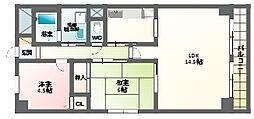 ライオンズマンション北田辺[2階]の間取り