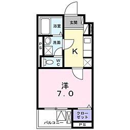 小田急小田原線 本厚木駅 徒歩8分の賃貸マンション 2階1Kの間取り