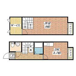 [テラスハウス] 大阪府茨木市島4丁目 の賃貸【大阪府 / 茨木市】の間取り