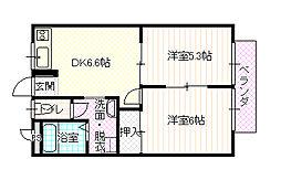 長野県須坂市大字小山の賃貸アパートの間取り