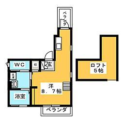 上平間レジデンス 4階ワンルームの間取り