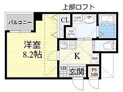 南海高野線 堺東駅 徒歩14分の賃貸マンション 5階1Kの間取り