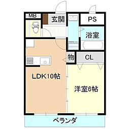 ひたち野桜風マンション 2階1LDKの間取り