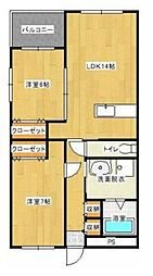 エフツー新湯野[1階]の間取り