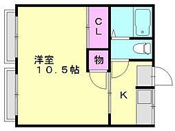 篠栗第一コーポB[2階]の間取り