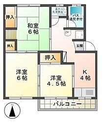 本城マンション B[4階]の間取り