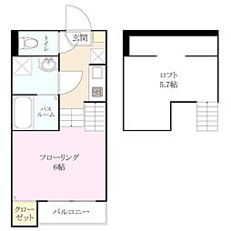 カーサ さくら  アセーロ箱崎[2階]の間取り