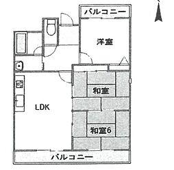 パティオ武庫之荘[501号室]の間取り