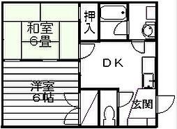 新潟県新潟市東区粟山2丁目の賃貸アパートの間取り