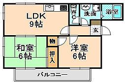 兵庫県伊丹市緑ケ丘1丁目の賃貸アパートの間取り