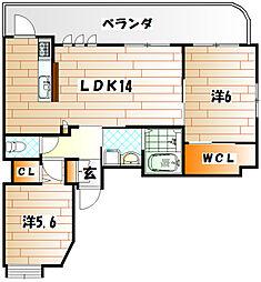 サンスカイ富久[2階]の間取り
