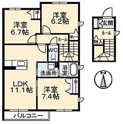 香川県高松市上林町の賃貸アパートの間取り