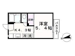タウニー北松戸A[205号室]の間取り