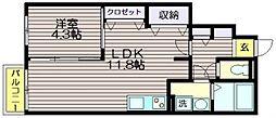 東京都三鷹市新川3の賃貸アパートの間取り