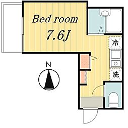 東京メトロ千代田線 北綾瀬駅 徒歩15分の賃貸アパート 2階ワンルームの間取り