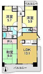 パークシャトー平野白鷺[6階]の間取り