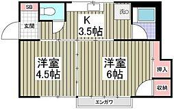 東京都板橋区坂下2丁目の賃貸アパートの間取り